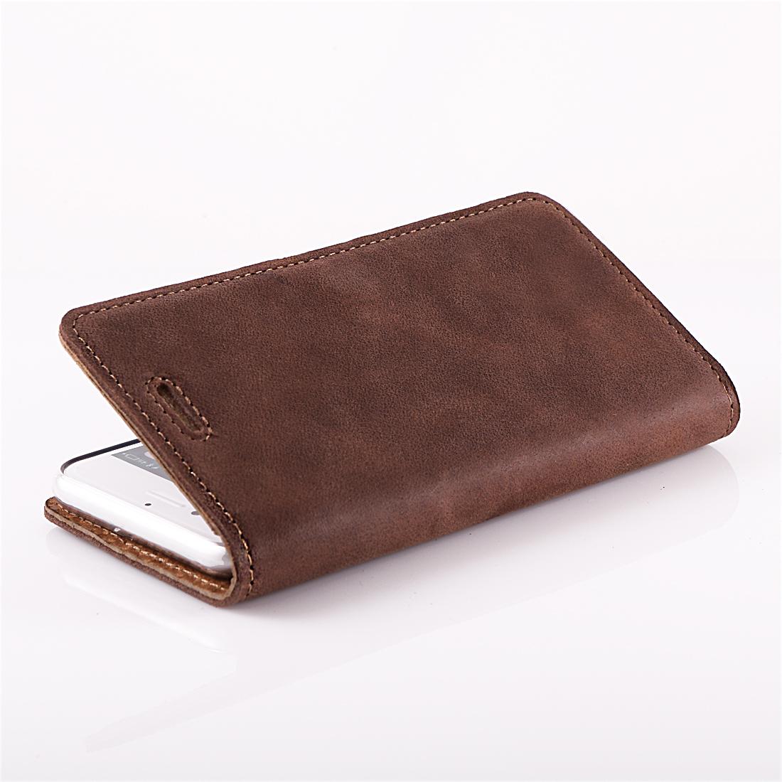 Szczegóły O Premium Echtes Ledertasche Schutzhülle Tpu Wallet Flip Case Nubuk Farbe Nuss