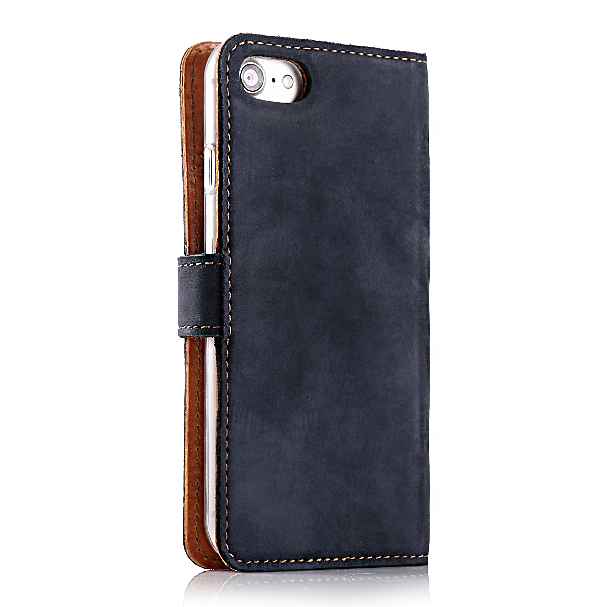 Premium Echtes Ledertasche Schutzhülle Tpu Wallet Flip Case Nubuk Uhren & Schmuck Farbe Blau